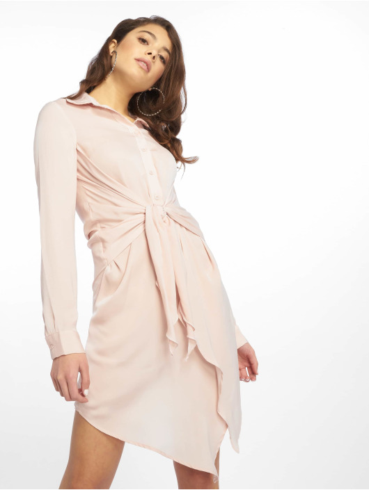 Missguided Šaty Tie Waist růžový