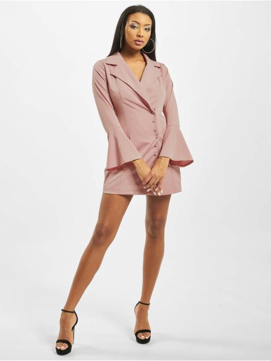 Missguided Šaty Asym Button Side Blazer růžový