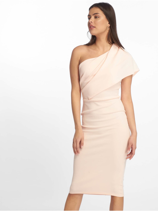 Missguided Šaty One Shoulder Midi ružová