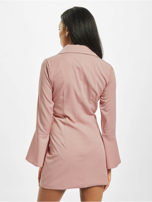 Missguided Šaty Asym Button Side Blazer ružová