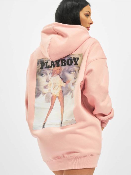 Missguided Šaty Playboy Girl Magazine Back Hoodie ružová