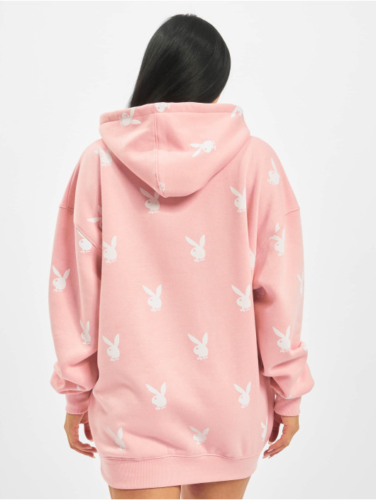 Missguided Šaty Playboy Bunny All Over Hoodie ružová