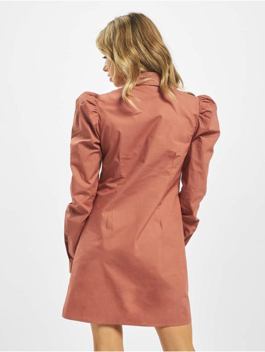 Missguided Šaty Cotton Poplin Puff Sleeve ružová