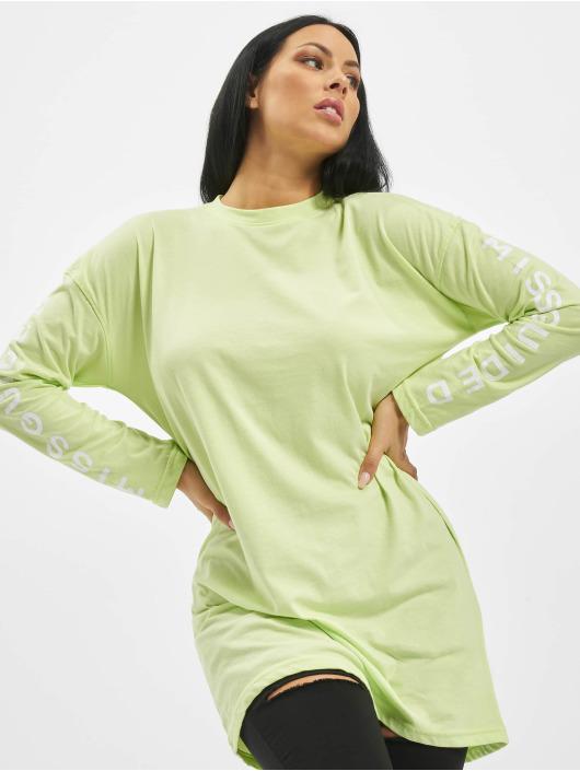 Missguided Šaty Oversized Longsleeve T-Shirt Branded zelená