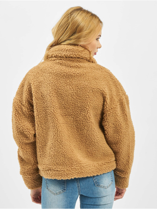 Missguided Зимняя куртка Crop Borg Trucker коричневый