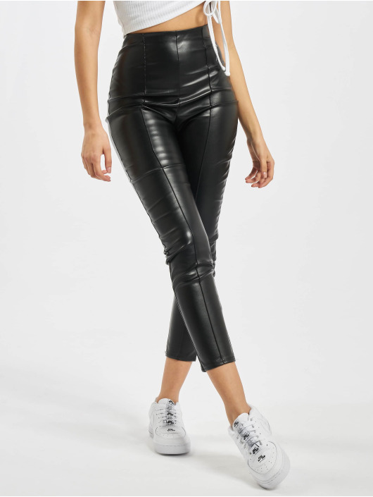 Missguided Леггинсы Missguided Faux Leather Pin Tuck Leggings черный