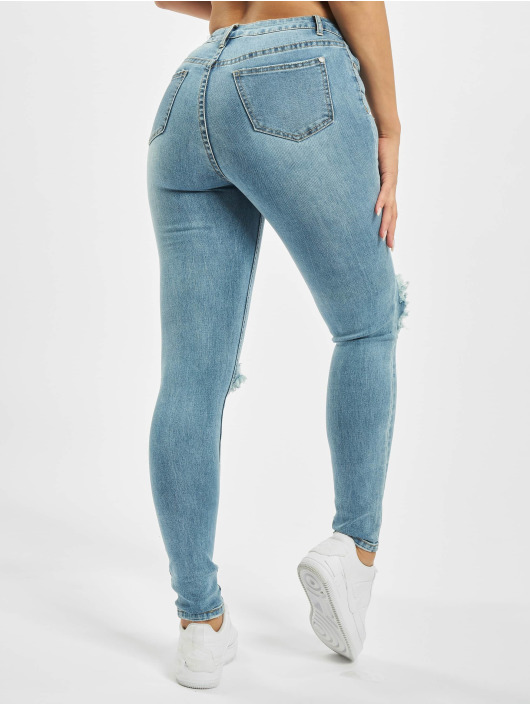 Missguided Облегающие джинсы Sinner Open Knee синий