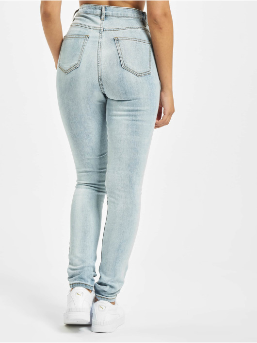 Missguided Облегающие джинсы Sinner Multi Distress синий