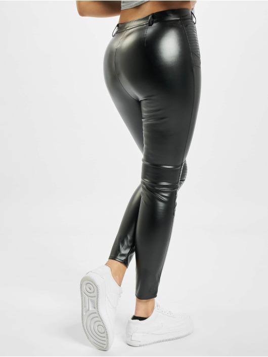 Missguided Облегающие джинсы Faux Leather Biker Detail черный