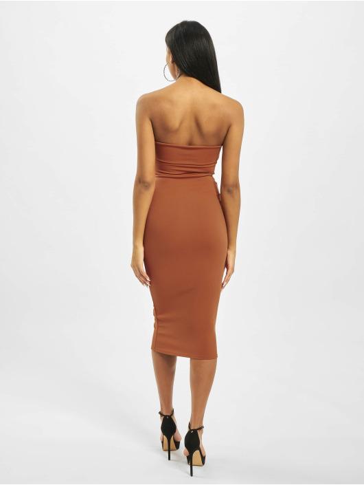Missguided Платья Cut Out Belted Bandeau коричневый