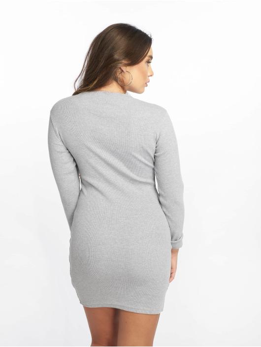 Missguided Платья Ribbed Long Sleeve Bodycon серый