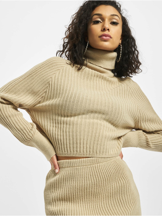 Missguided Пуловер Roll Neck Batwing Crop Co Ord бежевый