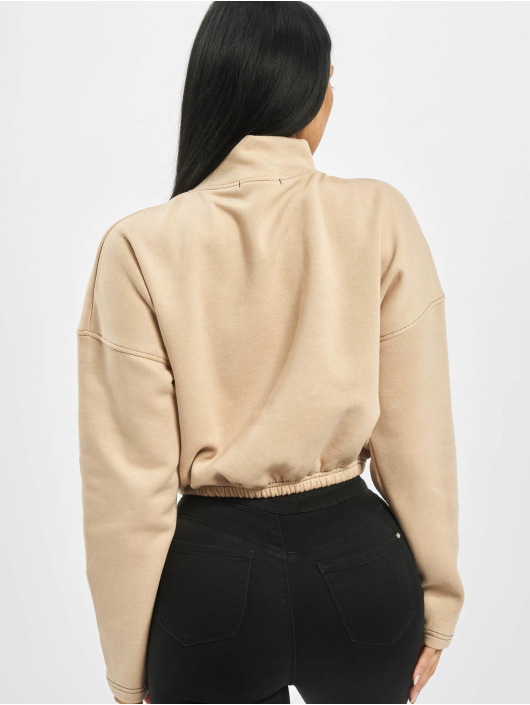 Missguided Пуловер Zip Front High Neck Gathered Waist бежевый