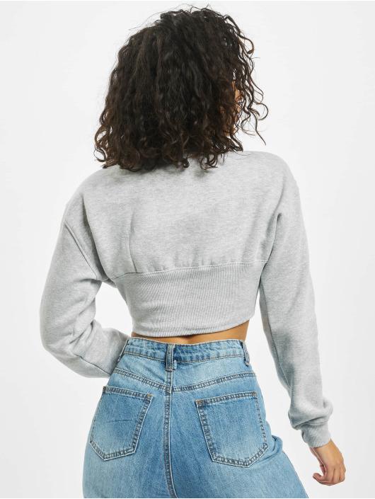 Missguided Пуловер Corset Detail Cropped серый