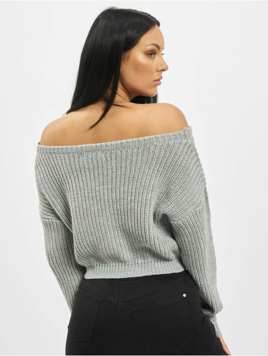 Missguided Пуловер Petite Core Off Shoulder серый