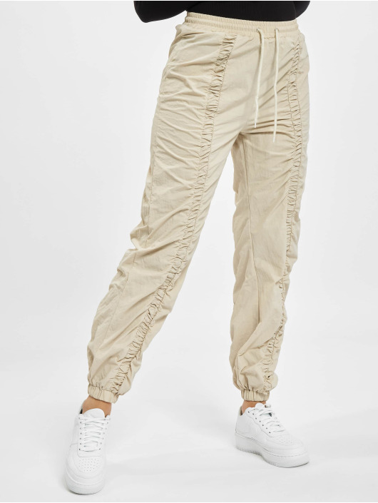 Missguided Спортивные брюки Nylon Ruched Front Oversized бежевый