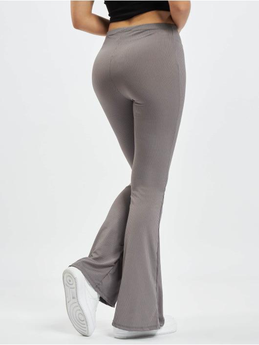 Missguided Спортивные брюки Ribbed Flare серый