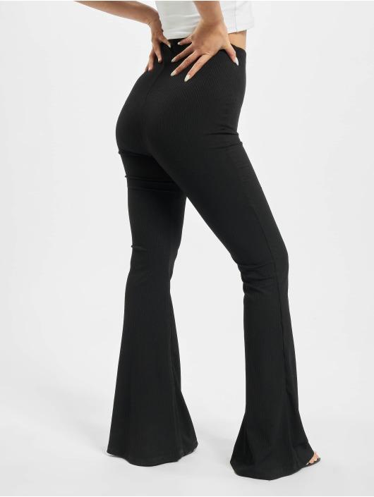 Missguided Спортивные брюки Ribbed Flare черный