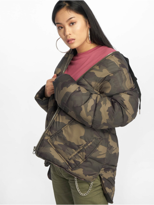 Missguided Стеганая куртка Longline Camo хаки