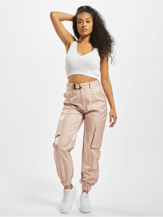 Missguided Топ Knitted V Neck Crop белый