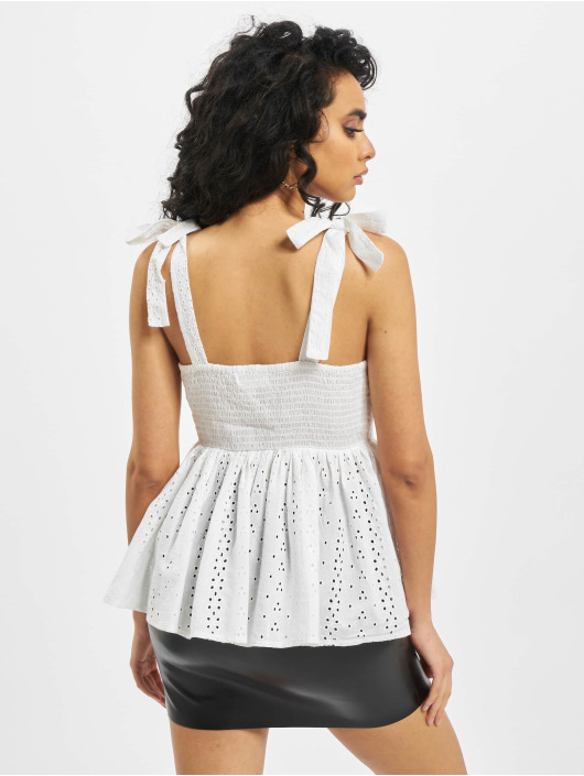 Missguided Топ Broderie Bow Shoulder Strappy Smock белый