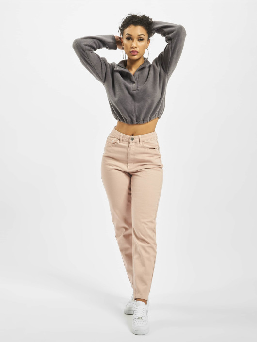Missguided Топ Fleece High Neck Crop Co-Ord серый