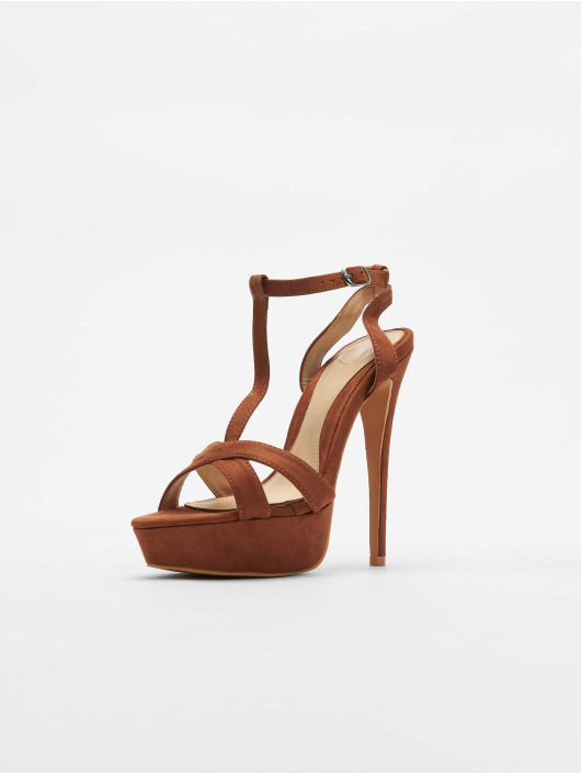 Missguided Туфли на каблуках T Bar Cross Over Stiletto коричневый