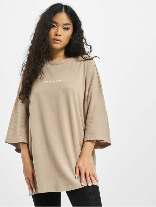 Missguided Футболка Washed Missguided Dropped Shoulder бежевый