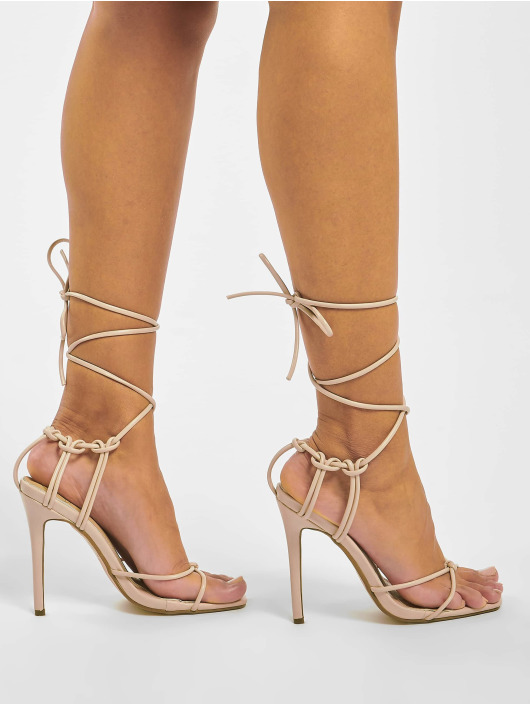 Missguided Шлёпанцы Super Strappy Square Toe Barley бежевый