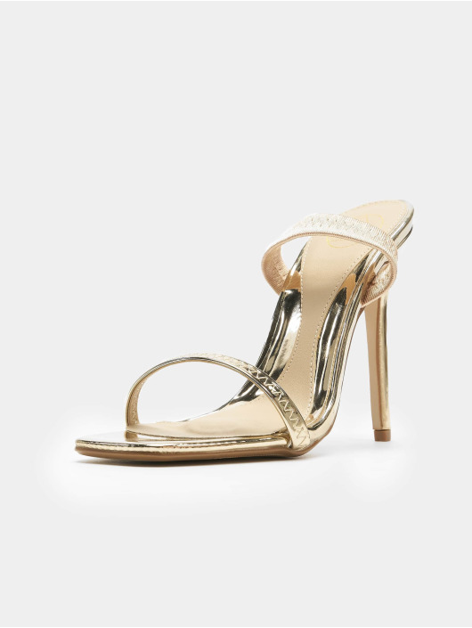Missguided Шлёпанцы Elasticated Strap Square Toe Barley золото
