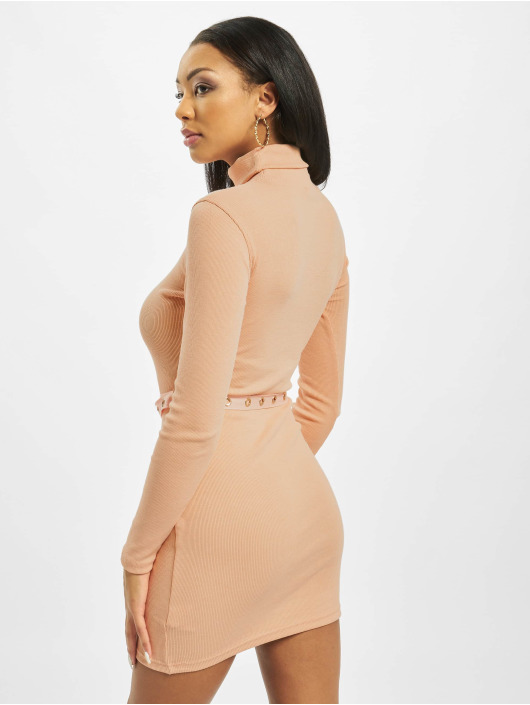 Missguided Abito Roll Neck Belted Longsleeve Mini arancio