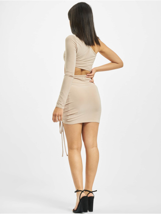 Missguided Abito Slinky One Shoulder Cut Out Mini beige