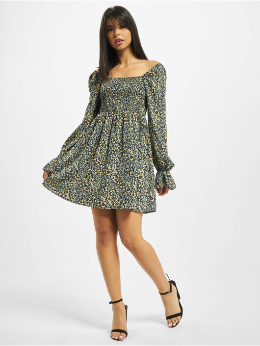 Missguided Abito Milkmaid Shirred Bust Mini Floral giallo