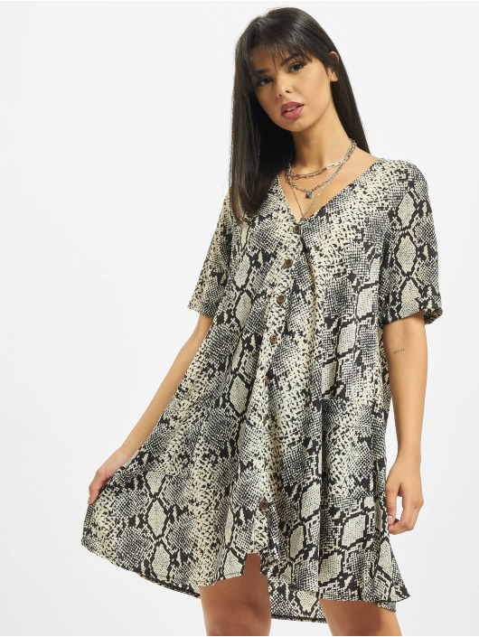 Missguided Abito Button Thru Smock Snake grigio