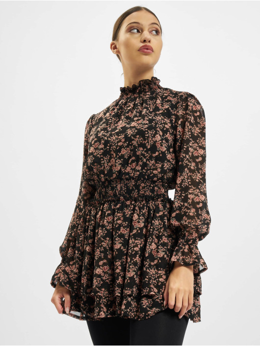 Missguided Abito High Neck Shirred Waist Floral nero