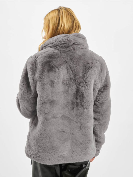 Missguided Abrigo Shawl Collar Faux Fur gris
