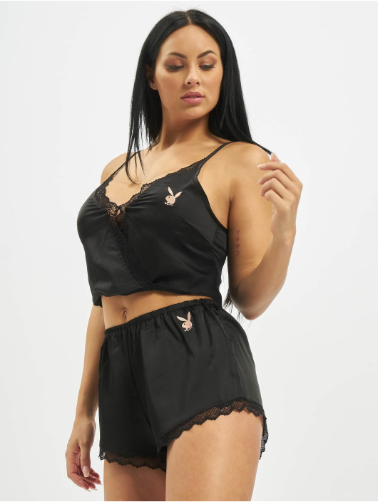 Missguided Alusasut Playboy Satin Lace Trim Cami musta