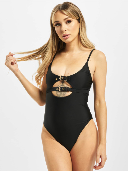 Missguided Badeanzug Double Buckle Detail schwarz