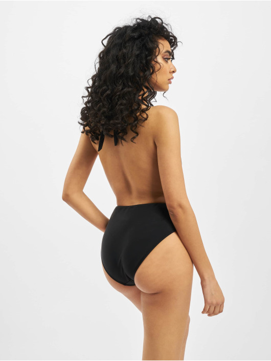 Missguided Bathing Suit Deep Plunge Backless black