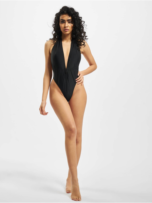 Missguided Bathing Suit Plunge Halterneck black