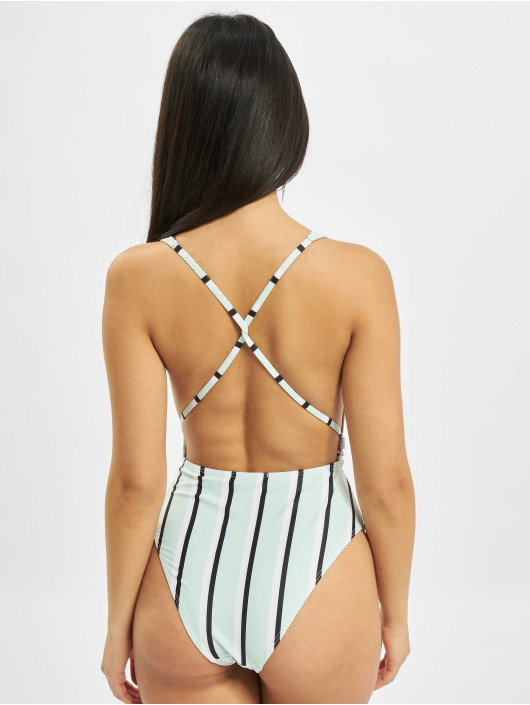 Missguided Bathing Suit Stripe Cut Out green