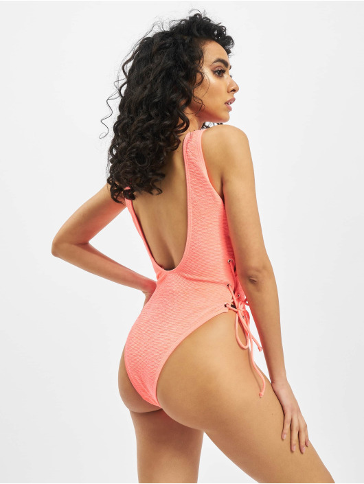 Missguided Bathing Suit Crinkle Lace Up Front And Side pink