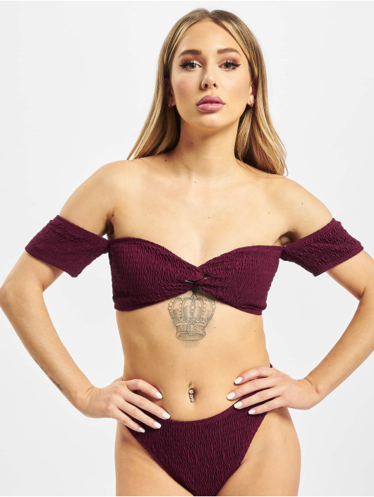 Missguided Bikini Crinkle Milkmaid And Bottoms red