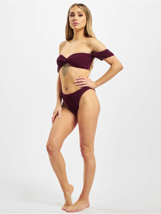 Missguided Bikini Crinkle Milkmaid And Bottoms rojo