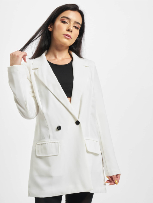 Missguided Blezer Tailored Longline bialy