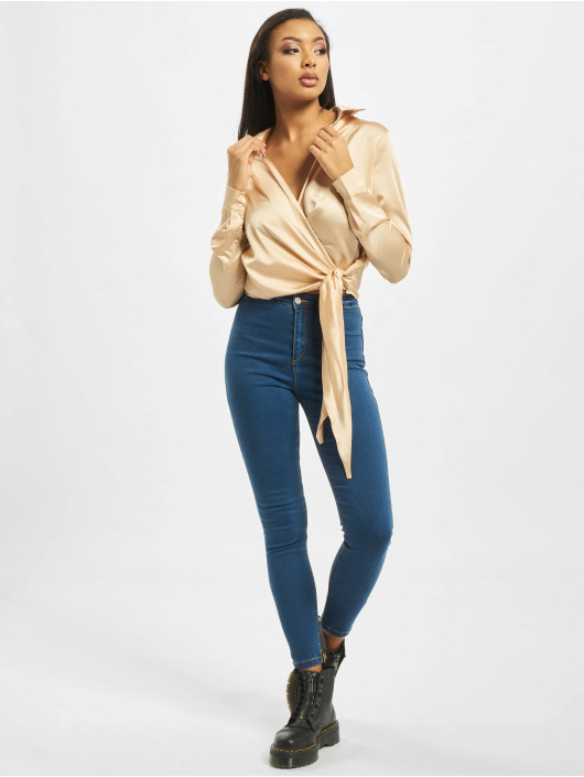 Missguided Blouse/Tunic Tall Satin Tie Side gold colored
