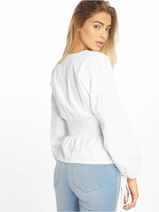 Missguided Blouse/Tunic Shirred Poplin Top With Tie Sleeve white