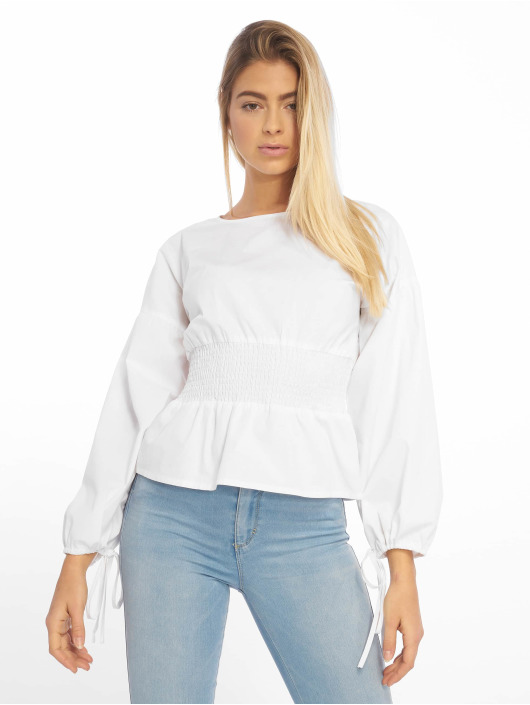 Missguided Blouse Shirred Poplin Top With Tie Sleeve wit