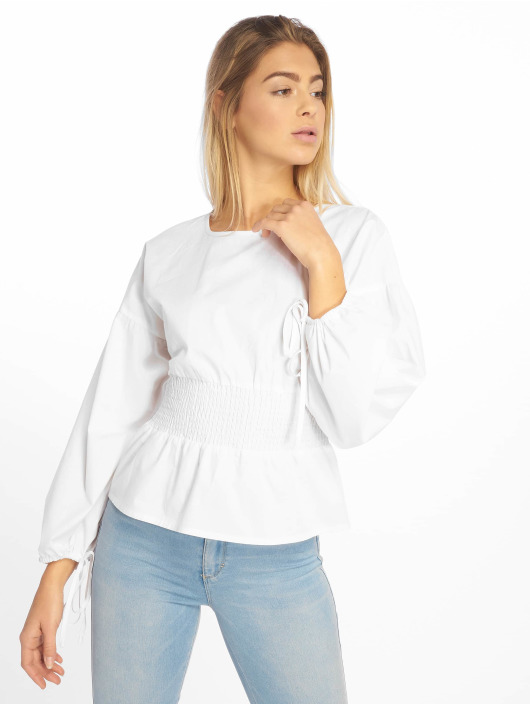 Missguided Blusa / Túnica Shirred Poplin Top With Tie Sleeve blanco