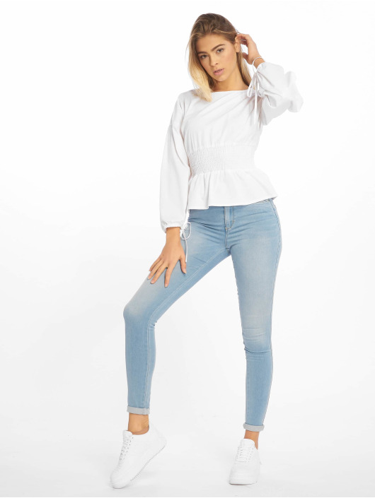 Missguided Bluser/Tunikaer Shirred Poplin Top With Tie Sleeve hvit
